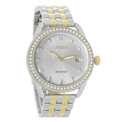 Citizen Eco-Drive Ladies DRIVE LTR Two Tone Crystal Silver Dial Watch FE6114-54A