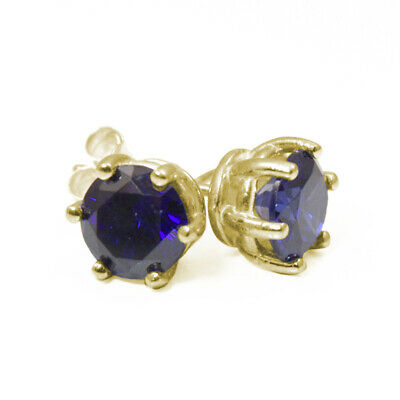 Earrings 6 Claw Sapphire 2ct Diamond Unique Solitaire Solid 9ct Gold Studs