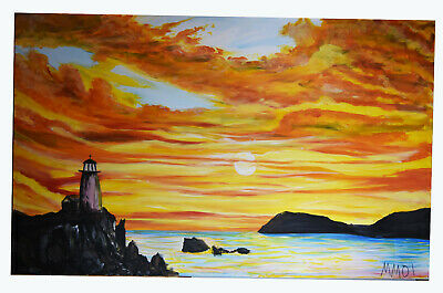 """48"""" Large Oil Painting Signed MM Burning Sunset Lighthouse Seascape Ocean View"""