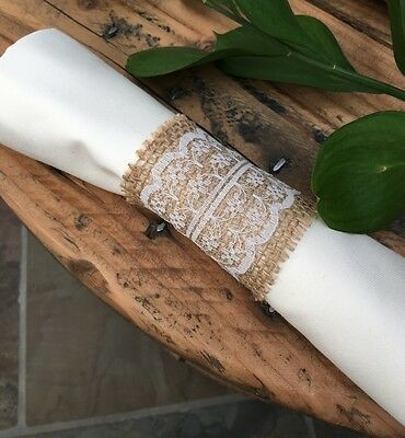 50 X Hessian Burlap Lace Serviette Napkin Rings Wedding Table Vintage Jute 10
