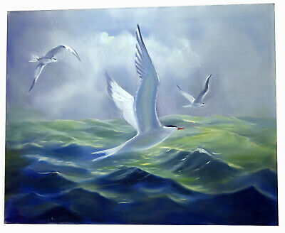 "30"" Large Oil Painting Seascape View w/ Flying Seagulls Storm Green Water Ocean"