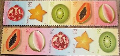 Tropical Fruits 2 Strips: 5 Coil Stamps & 5 Sheet Stamps Scott's 4253 to 4262