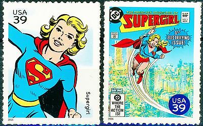 Supergirl Set of 2 Scarce MNH US Postage Stamps Scott's 4084i and 4084s