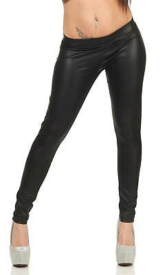 Damen Leggings Wet-Look schwarz Leder-Optik Matt Gr. XS S M L XL