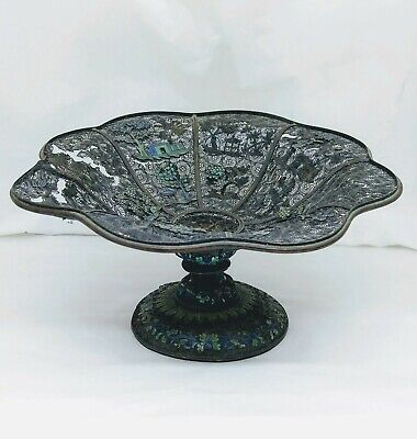 Antique Chinese Silver Filigree And Enamel Compote, Late 18Th/early 19Th C.