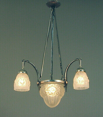 A French Art Deco (not overly!) 4-light Chandelier, Nickeled Wr Iron, Fab Glass
