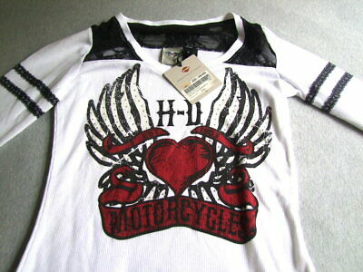 4e96cf986bf83d NWT Women s Harley Davidson Long Shirt White Heart Burnout Long Sleeve  Flannel