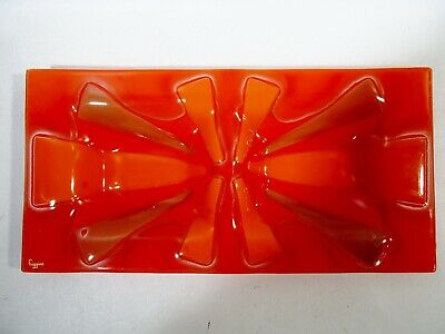 Midcentury HIGGINS GLASS Orange Abstract STARBURST Double Well Tray VIDE POCHE