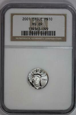 2001 Platinum American Eagle MS69 NGC US Mint $10 Liberty Coin