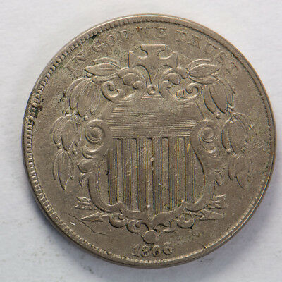 1866 5c SHIELD NICKEL - NICE HIGH GRADE COIN - LOT#E059