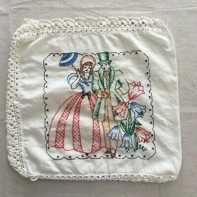Vintage Edwardian Couple Hand Embroidered Linen Crochet Lace Pillow Cover
