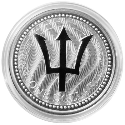 2017 $1 Silver Barbados Trident 1 oz Brilliant Uncirculated in Cap