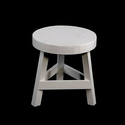Wooden Three Legged Stool White Shabby Chic 23cm High Home Office Garden Bench