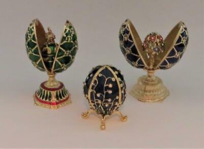 Traditions of Faberge, Russia, Hand Made, Lot of 3 Enamel Decorative Eggs