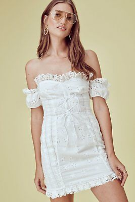 d1db9064ab5e8 FOR LOVE   LEMONS Anabelle Eyelet Lace Up Dress Size L Orig.  216 ...