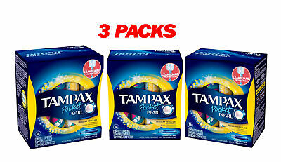 Tampax Pocket Pearl Compact Tampons Unscented Regular 18 Count X3
