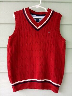 79e653da1 TOMMY HILFIGER KIDS Boys Size 4 Red Knit Sweater Vest VEUC -  10.99 ...