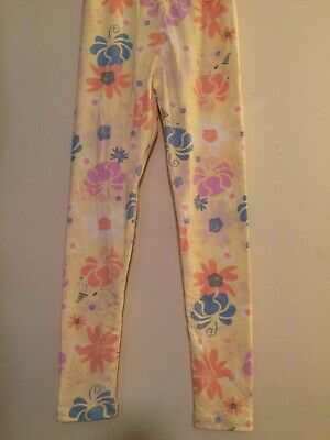 LuLaRoe Kids Leggings Yellow Multicolor Pastel Floral Size Tween