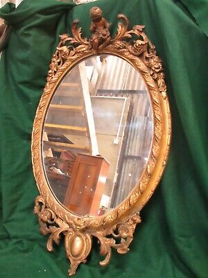 18th century gilt framed oval wall hanging mirror (ref 655)