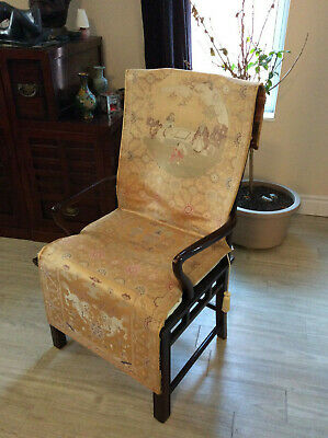 Qianlong Dynasty Imperial Yellow Ground Silk Brocade Textile Chair Cover, Nice!!