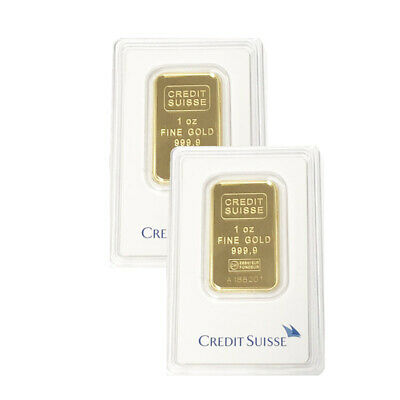 Lot of 2 Gold 1 oz Gold Credit Suisse Bar .9999 Fine Sealed In Assay