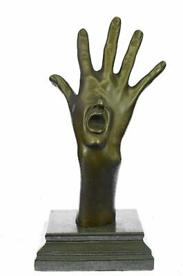 "Surreal Abstract Bronze Sculpture of Screaming Hand Mouth 14"" x 7"""