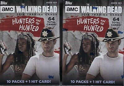 (2) 2018 Topps The Walking Dead Hunters & The Hunted Cards Blaster Box LOT