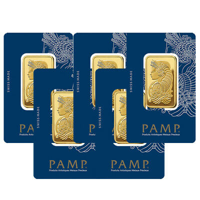 Lot of 5 Gold 1 oz PAMP Suisse Lady Fortuna .9999 Fine Bars  with BANK WIRE ONLY