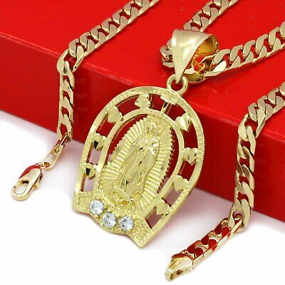 """Mens 18k Gold Plated CZ Heart Guadalupe Brass  Pendant 6mm 24"""" Cuban  Chain"""