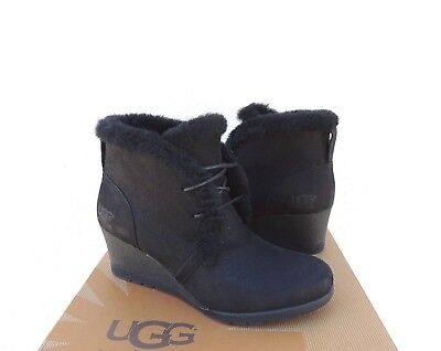 abcd90e0593 UGG PAX BLACK Waterproof Leather/ Sheepskin Wedge Boots, Us 5.5/ Eur ...