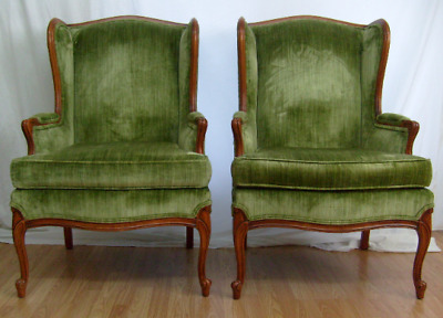 Pair of Green Vintage French Bergere Louis XV Style Wing Chairs by Gilliam