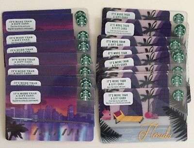 Lot x 20 Starbucks Gift Cards (10) MIAMI - (10) FLORIDA MINT, NO VALUE!