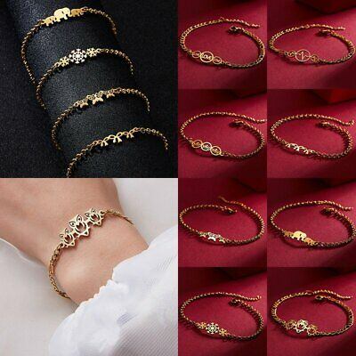 Women Elephant Owl Crown Charms Gold Bracelet Stainless Steel Chain Bangle Gifts