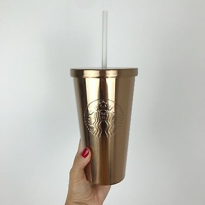 Starbucks Stainless Steel Cold Cup Tumbler Copper Siren 16oz 473ml