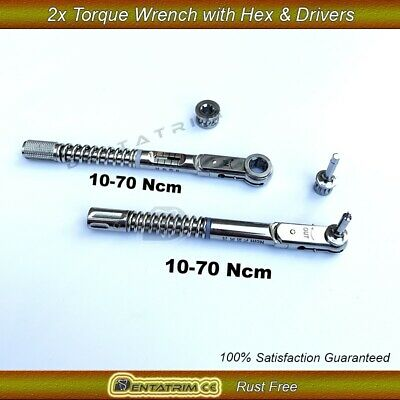 2 x Dental Implant Torque Wrench Ratchet 10-70 NCM With Drivers Hex Screws CE