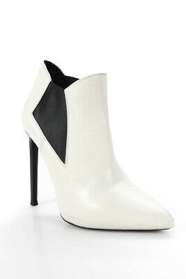 043198da898 Saint Laurent Womens Pointed Toes Ankle Booties White Leather Size 8.5  LL19LL
