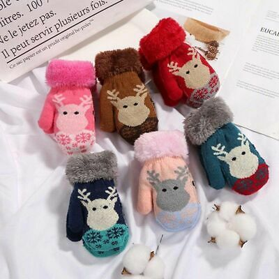 Kids Baby Winter Knitted Stretch Mittens Solid Full Finger Gloves Item Cute