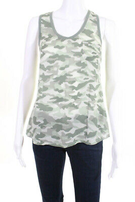 5c31dc26e5a0c Joie Womens Sleeveless Tank Top Shirt Blouse Green Camouflage Silk Size XS