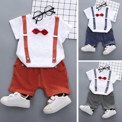 Kids Baby Boys Wedding Tops Shirts + Shorts Pants Outfit Suit With Bow Tie Cute