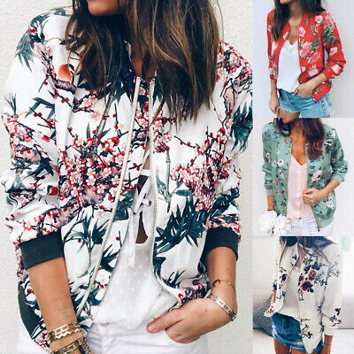Spring Womens Ladies Casual Floral Print Zipper Up Bomber Jacket Coat Outwear