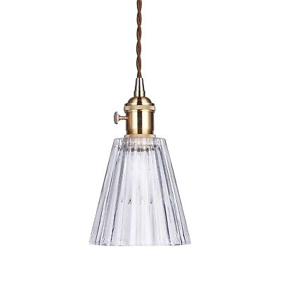DANA Vintage Glass Pendant Light Gold Hardware Tapered Shade Chic French Style