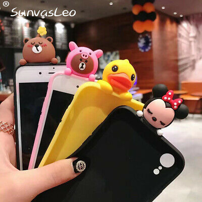 New 3D Cute Cartoon Animal Soft Silicone Case Phone Back Cover For iPhone Series
