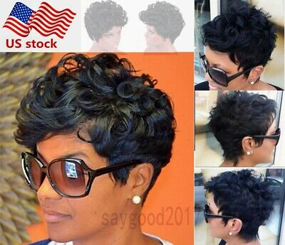 US MR CURLY Short Wigs Black Brown Pixie