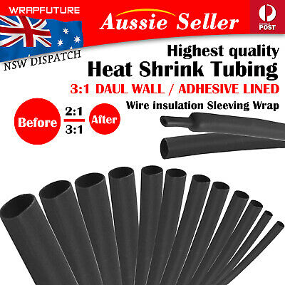 Black Heat Shrink Sleeving Tube 2M - 3:1 Double Wall Glue Lined 2:1 Wire Sleeve