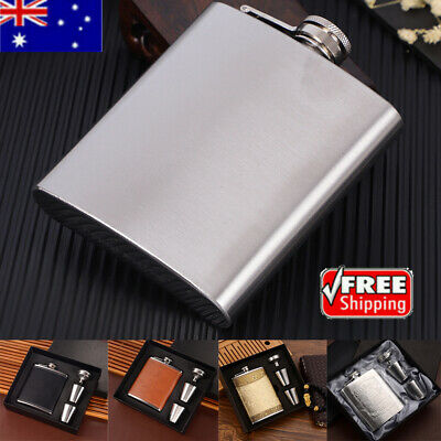 Portable Durable Stainless Steel Wine Whiskey Hip Flask Travel Set w/Funnel Gift