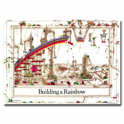 Building A Rainbow 24x36inch Vintage Style Silk Poster Door Room Decal