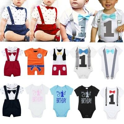 Newborn Baby Boys First Birthday Romper Bodysuit Jumpsuit Outfits Cotton Clothes