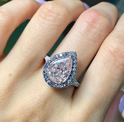 2Ct Pear Cut Halo Pink & Aqua Diamond Engagement Ring 10k White Gold Over