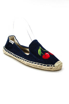 0fe7f686734 Soludos Womens Cherry Embroidered Denim Espadrilles Loafers Blue Size 6
