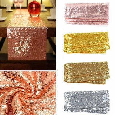 Glitter Sequin Table Runner Cloth Rose Gold/Silver Wedding Christmas Party Decor